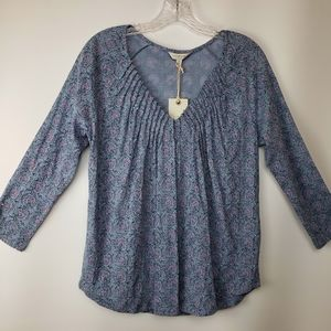NEW Lucky Brand Floral Gathered V Neck Top